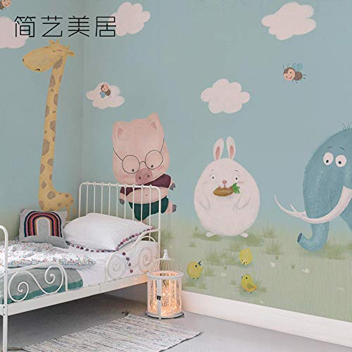 Weiße Seide Kronleuchter (WANGZZZ Blauer Himmel und weiße Wolkenhäschentierwandschlafzimmerkinderzimmer-Tapetenwandverkleidungstapete)