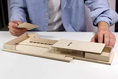 Mies Van der Rohe Barcelona-Pavillon Modell 1:150 - Hochwertige Replik. Bauhaus Do it Yourself Modell aus Birkensperrholz und Methacrylat, leicht zu montieren