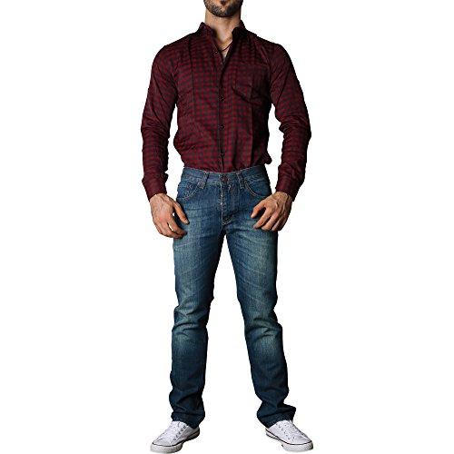 D´Sema Herren Langarm Hemd Slim Fit Casual Oktoberfest Holfzäller Männer Shirt DS-H-HEM009 Schwarz-Rot-Karo