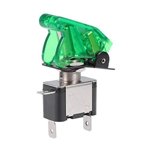 SPST Commutateur bascule Lumière LED vert 20A 12V 3P ON-OFF capot protection vert