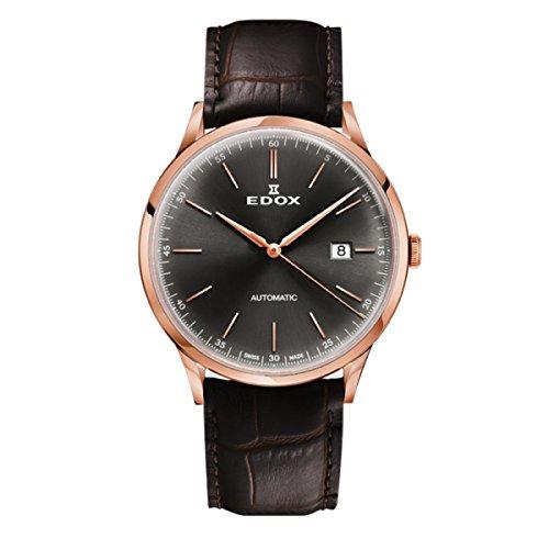 EDOX Reloj Analogico para Hombre de Automático con Correa en Cuero 80106-37RC-GIR
