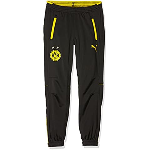 Puma BVB Poly Pants with 2 Side Pockets and Zip Pantalones, otoño/invierno, infantil, color negro/amarillo, tamaño 12 años (152 cm)