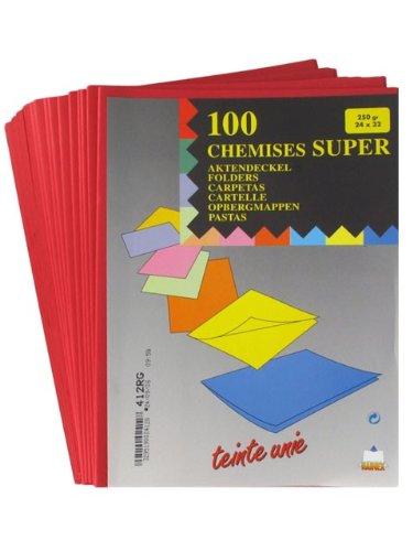 Rainex Mappen Super Karton, 100 Stück, 210 g, 24 x 32 cm rot