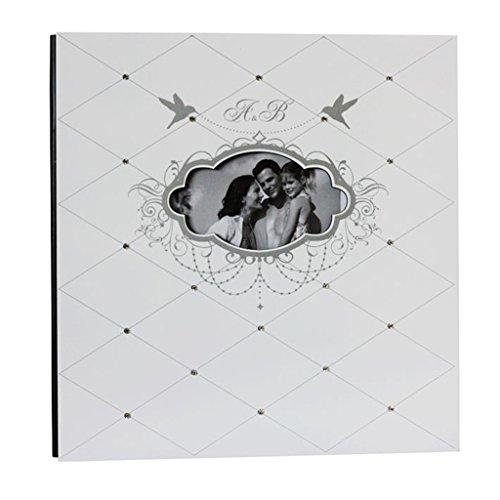 FOOHAO- Album photo Pages magnétiques, couverture de peinture en bois, 20 pages (40 faces), album de famille créative (Couleur : White card)