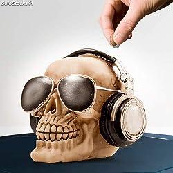 Out of the blue 78/5736 - Caja de dinero de poliresina, cráneo con auriculares y gafas de sol, circa 16x13 cm