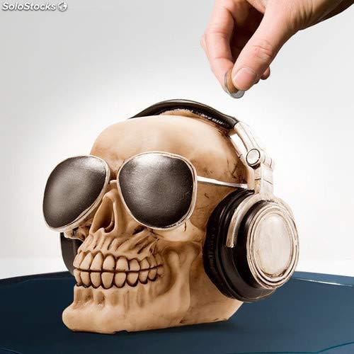 Out of the blue 78/5736 - Caja de dinero de poliresina, cráneo con auriculares y gafas de sol, circa 16 cm x 13 cm