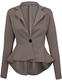 Damen Neue Long Sleeve Fitted Peplum Jacken Frauen Slim Fit Button Flared Frill Blazer Jacke