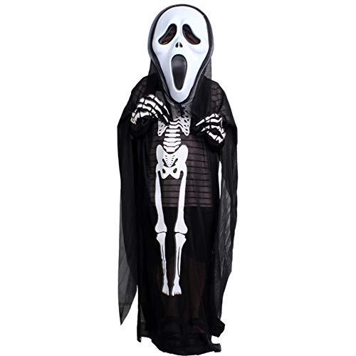 YTWF Kostüme für Erwachsene, Ghost Face Maskerade Kostüm + Maske + Handschuhe Karneval Performance Kostüm Halloween Kostüm Ghost Festival Kostüme,Child (Ghost Face Maske Kostüm)