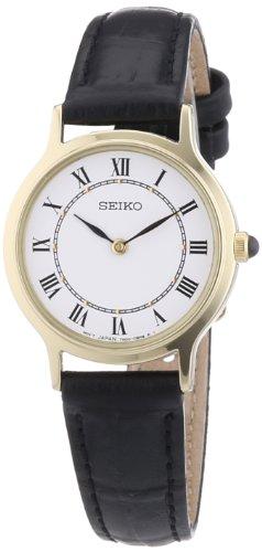 Seiko - SFQ830P1 - Montre Femme - Quartz Analogique - Bracelet Cuir Noir