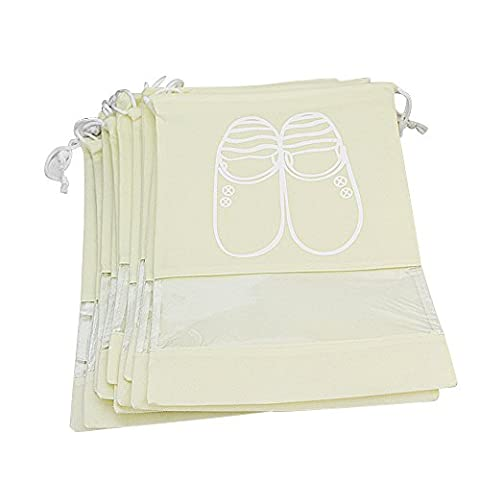 Pingenaneer 10 Pcs Dust-proof Breathable Travel Drawstring Shoe Storage Bags with Transparent Window for Boots,High