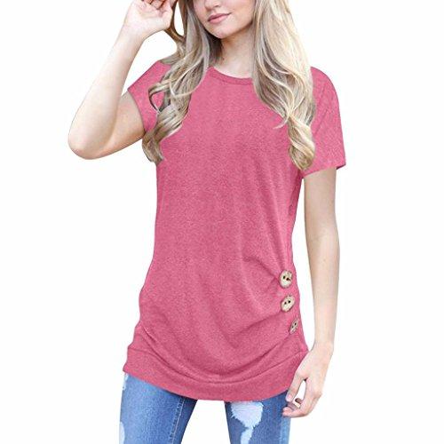 Damen Kurzarm, Frashing Damen Kurzarm Lose Knopfleiste Bluse Einfarbig Rundhals Tunika T-Shirt Damen Tailliertes T-Shirt Basic (M, Rosa) -
