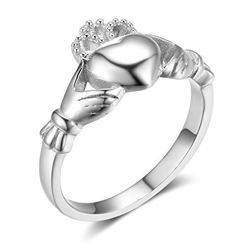 Aienid anelli argento 925 etnici claddagh argento anello per donne size:17