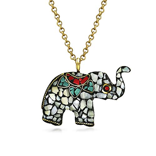 Bling Jewelry Brass Plated Mosaic Elephant Pendant Necklace