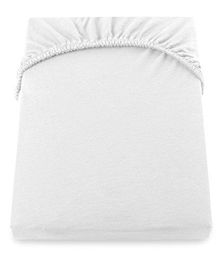 DecoKing 18101 80x200-90x200 cm Spannbettlaken weiß 100% Baumwolle Jersey Boxspringbett Spannbetttuch Bettlaken Betttuch White Amber Collection - 5
