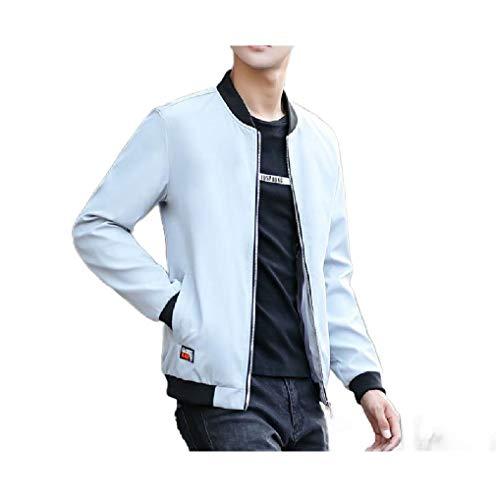 CuteRose Mens Rain Jacket Trench Coat Outwear Baseball Plus-Size Jacket Light Grey S