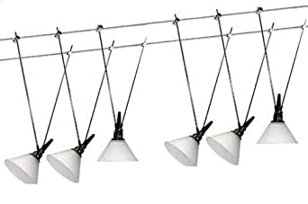 led niedervolt seilsystem seilset glas 6x3w warmweiss wei neu beleuchtung. Black Bedroom Furniture Sets. Home Design Ideas