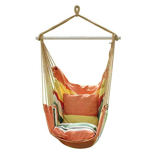 ANPI Hängematte Stuhl Seil Hängen Schaukel, Garten Hängende Seil Hängematte Stuhl Veranda Swing Sitz mit Zwei Kissen für Drinnen Draußen Yard Veranda Patio, Sommerwind Markise Für Schaukel