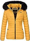 Navahoo Designer Damen Winter Jacke Steppjacke Stepp Winterjacke B655 [B655-Aran-Gelb-Gr.L]