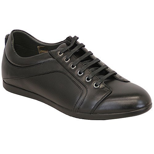 Baskets Hommes Baskets Cuir Chaussures de jogging à lacets MARCHE Athlétisme Course NEUF Noir - 111621