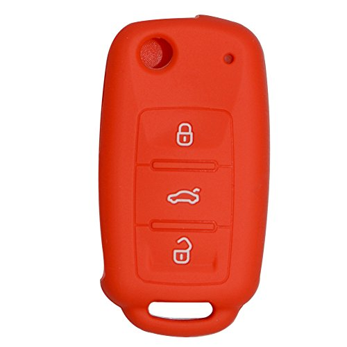 Happyit Silikon Auto Schlüssel Abdeckung Fall für Volkswagen VW Polo Passat B5 Golf 4 5 6 Jetta Mk6 Tiguan GOL CrossFox Plus EOS Scirocco Beetle (Rot)