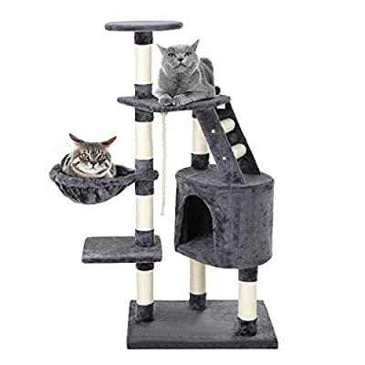 Petonaut 122cm Cat Tree Activity Centre Climbing Tower Furniture with Sisal Scratching Posts Plush Pet Condo House Perch Hammock Bed Ladder Hanging Rope Play Toy for Cats Kittens Gray