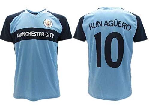 Maglia Ufficiale Aguero Kun Manchester City Home Azzurra 2018 in Blister Regalo 10 (M)