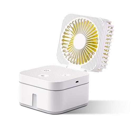 Gmjay Mini Beschlagen Fan Mit 7 Farben Nacht LightUSB Tischventilator Tragbare Luftbefeuchter Wasserspray Lüfter Für Home Schlafzimmer Büro,White