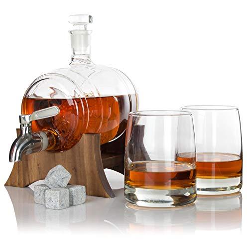 atterstone Barrel Whiskey Dekanter Set/Full Set mit zwei Whiskygläsern, Custom Dekanter Ständer, Whisky Stein Set, Edelstahl Spender und Trichter Full-dekanter
