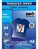 PPD Inkjet Transferpapier zum aufbügeln auf dunkle T-Shirts, DIN A4, 20 Blatt