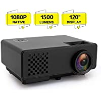 "PUNNKK P6WIFI Mini LED Video Projector, 1500 Lumens 120"" Inch Multimedia Projector Supporting 1080P, HDMI, USB, VGA, AV for Home Theater Entertainment Parties"
