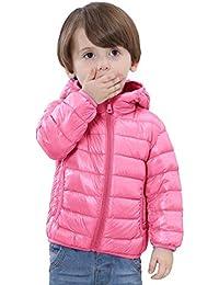 6d37c28426 QCHENG Kinder Junge Mädchen Ultraleichte Daunenjacke mit Kapuze Leicht  Verpackbar Herbst Winter Warme Jacket Steppjacke Daunenmantel