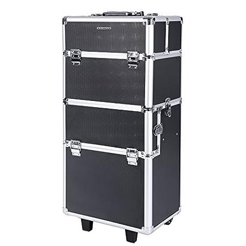 Songmics® Beauty Case Mallette Maquillage Trolley Multifonctionnel Stockage Ajustable Noir JHZ05B