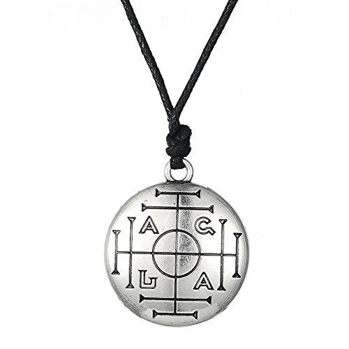 Fishhook Wicca - Collar con colgante de llave de solomón para protección de la riqueza