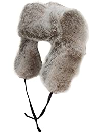 Unisex Silver Grey Faux Fur Trapper Hat with Suede Effect Ties.