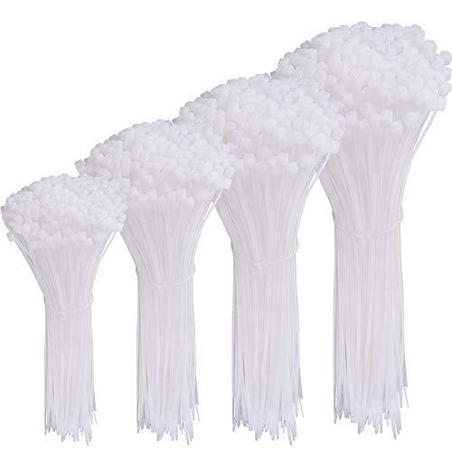 AUSTOR 600 pièces Serre-Câbles Blanc Attaches-Câble pour Colliers de Serrage Plastique de 4 6 8 10 Pouces