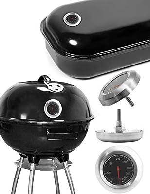 HomeTools.eu® - Temperatur-Beständiges analoges BBQ Grill Koch Thermometer   zum Nachrüsten für BBQ Grill Töpfe Bräter Räucherofen   10°C - 400 °C