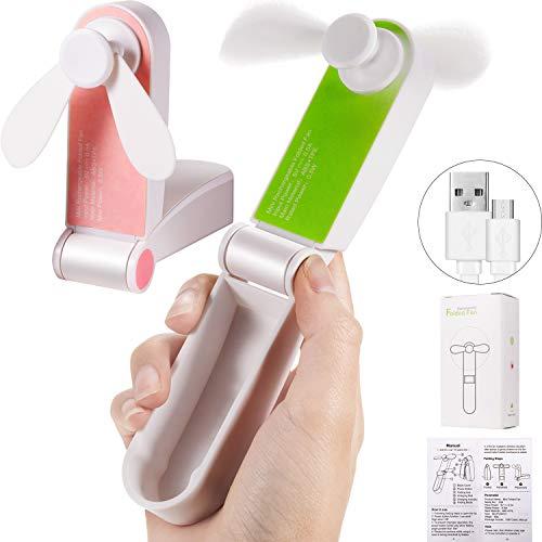 Chinco 2 Stück Mini Persönlicher Lüfter, Taschen Ventilator, Faltbarer Handventilator, Kleiner Tragbarer Lüfter, Reise Ventilator USB Wiederaufladbare Lüfter mit Eingebautem Akku für Reise