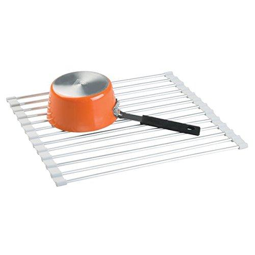 mDesign égouttoir à vaisselle en aluminium – tapis égouttoir roulant à structure de grille – sèche vaisselle antirouille pour évier – argenté/gris