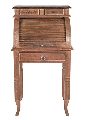 Sekretär aus recyceltem Teak-Holz mit 4 Schüben und Rolladen 55x100 cm | Oceandrift | Massiv-Holz Konsolen-Tisch natur mit kolonialfarbener Platte 55cm x 100cm