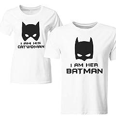 Idea Regalo - Coppia di Magliette t Shirt Batman Catwoman Idea Regalo San Valentino GR400