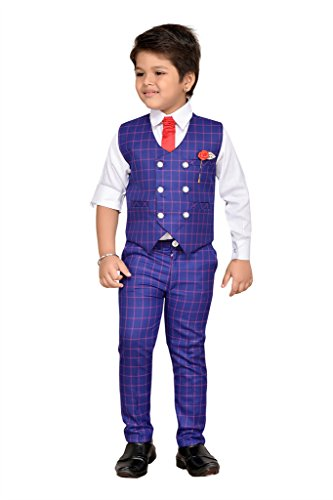 AJ Dezines Kids Party Wear Suit Set for Boys (826_RED_WHITE_1)