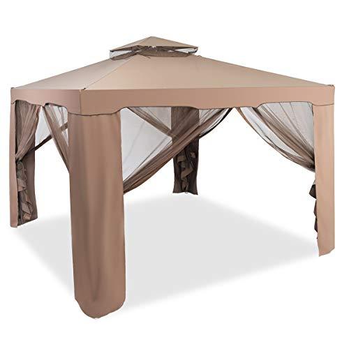 Costway gazebo a doppio tetto con zanzariera protegge dalle radiazioni uv, dal vento e dalla pioggia incluso accessori dimensioni:3 x 3 m colori disponibili: beige/marrone (caffe)