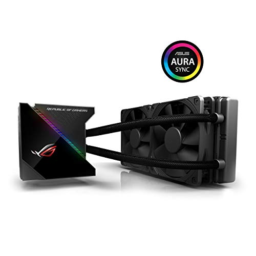 Asus ROG RYUJIN 240 Sistema di Raffreddamento per CPU All-In-One Liquid, Display OLED, Aura Sync RGB, Noctua Ippc 2000 Pwm, 2 Ventole di Raffreddamento da 120 mm, Nero