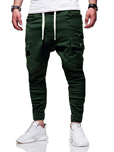 behype. Herren Cargo Biker Jogger-Jeans Hose mit Taschen Slim-Fit S-XXL 80-6722 Khaki M -