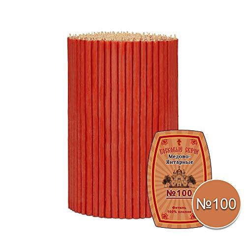 Diveevo 25 St. ca. 100 g Rote Festliche Bienenwachs Kerzen N100 16,5cm Kirchliche Kerzen Wachs Освященные Восковые свечи красные