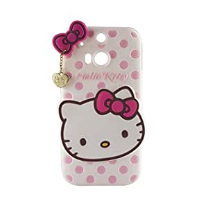 Go Crazzy HTC One M8 Cute Hello Kitty Soft Silicone Case, 3D Cartoon Polka Dots Hello Kitty Silicon Gel Rubber Case Cover Skin for HTC One M8 With Free Aux cable 3.5mm to 3.5mm jack audio cable