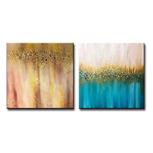 Neuheit Leinwand (MXmama 2 Platten Leinwand Wandkunst Moderne Handgemachte Gold Ölgemälde Wohnzimmer Dekoration Stück Neuheit, Leinwand Paitning-40x60cmx2-kein Rahmen)