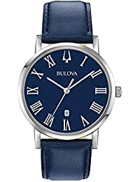 Bulova Men's Quartz Stainless Steel and Leather Dress Watch, Color:Blue (Model: 96B295)