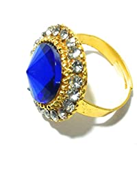Diva Traditional & Ethnic Gold Plated Finger Ring For Women NAVY BLUE (Adjustable)