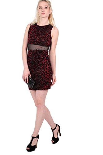 PILOT® Arianna léopard troupeau robe sans manches imprimé moulante vin rouge